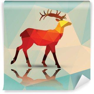 Mural de Parede Lavável Geometric polygonal deer, pattern design, vector