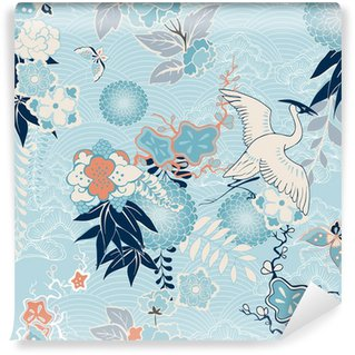Mural de Parede Lavável Kimono background with crane and flowers