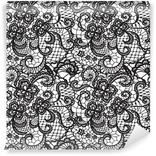 Mural de Parede Lavável Lace black seamless pattern with flowers on white background
