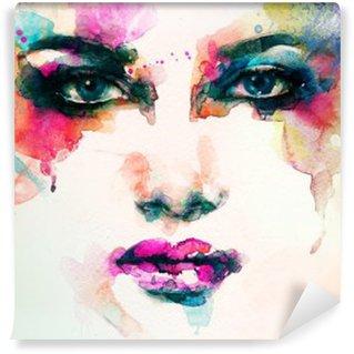 Mural de Parede Lavável Retrato da mulher. aquarela abstrata. fundo moda