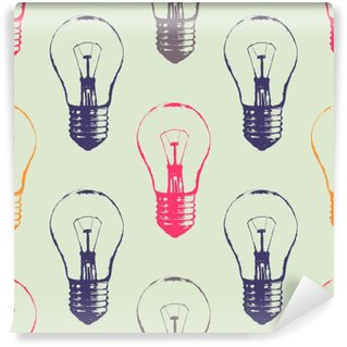 Mural de Parede Lavável Teste padrão sem emenda do grunge do vetor com lâmpadas. esboço estilo moderno moderno. Ideia e conceito de pensamento criativo.