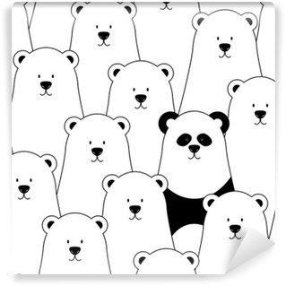 Mural de Parede Lavável Vector padrão sem emenda com ursos polares brancos e panda