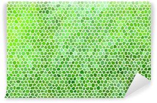 Mural de Parede em Vinil Mosaico de pedra abstrato em cores verdes com juntas brancas.