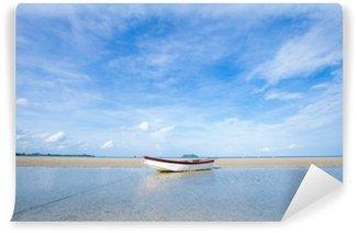 Mural de Parede em Vinil Pequeno barco na praia