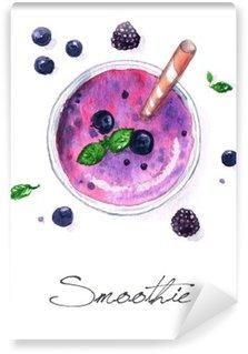 Mural de Parede em Vinil Pintura em Aquarela Food - Smoothie
