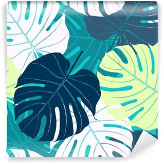 Mural de Parede em Vinil Seamless com folhas de palmeira