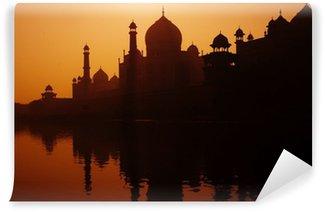 Mural de Parede em Vinil Sunset Silhouette Of A Grand Taj Mahal