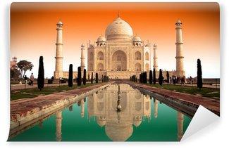 Mural de Parede em Vinil Taj Mahal et drapeau indien