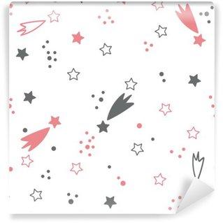 Mural de Parede em Vinil Teste padrão sem emenda bonito com estrelas. fundo do espaço