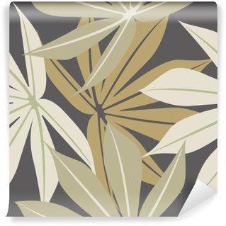 Mural de Parede em Vinil Teste padrão sem emenda elegante com folhas tropicais