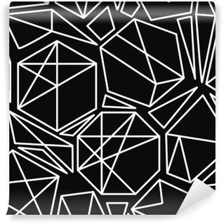 Mural de Parede em Vinil Vetor preto e branco padrão sem emenda geométrico