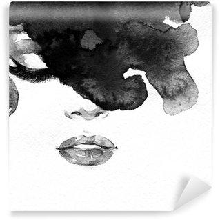 Mural de Parede em Vinil woman portrait .abstract watercolor .fashion background