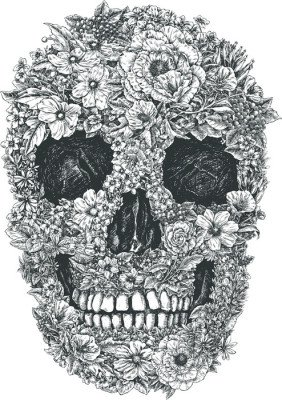 Muursticker Flower Skull Vector