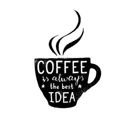 Muursticker Illustratie van koffiekop met belettering