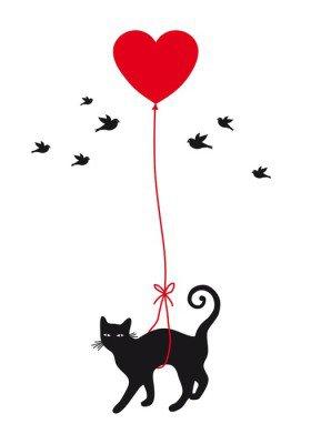 Muursticker Kat met hart ballon, vector