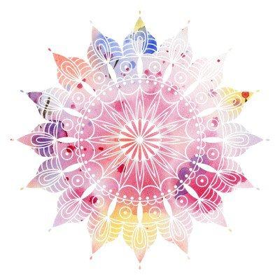 Muursticker Mandala kleurrijke aquarel. Mooie ronde patroon. Gedetailleerde abstracte patroon. Decoratief geïsoleerd.