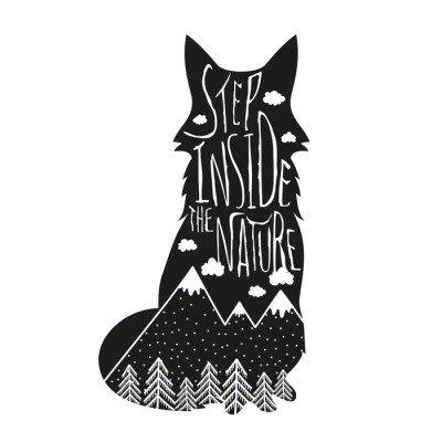 Muursticker Vector hand getrokken letters illustratie. Stap binnen in de natuur. Typografie poster met vos, bergen, bos en wolken.