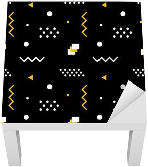 Naklejka na Stolik Lack Geometryczne kształty, modne nowoczesne minimalistyczne szwu tło w kolorze białym, czarnym i złotym kolorze.