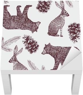Naklejka na Stolik Lack Ręcznie rysowane zimowy Modny bezszwowe tło