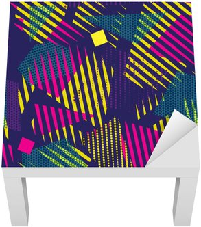 Naklejka na Stolik Lack Streszczenie bezszwowe chaotyczny wzór z miejskich elementów geometrycznych. Grunge neon tekstury tła. Tapety dla chłopców i dziewczynek