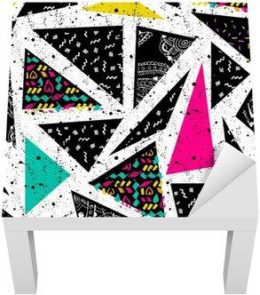 Naklejka na Stolik Lack Streszczenie bezszwowe chaotyczny wzór z miejskich geometryczne elementy trójkąta. Grunge neon tekstury tła. Tapety dla chłopców i dziewczynek