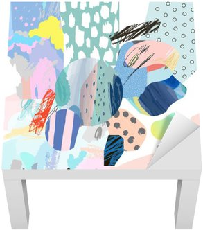Naklejka na Stolik Lack Trendy twórczy kolaż z różnych tekstur i kształtów. Nowoczesna szata graficzna. Niezwykłe dzieło. Wektor. Odosobniony