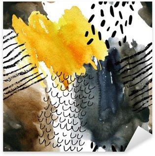 Naklejka Pixerstick Abstrakcyjna Akwarele szwu w kolorach jesieni.