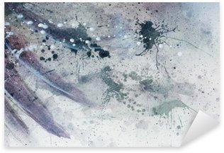Naklejka Pixerstick Abstrakcyjne malarstwo z rozmyte i poplamione strukturze z delikatnym piór sylwetki.