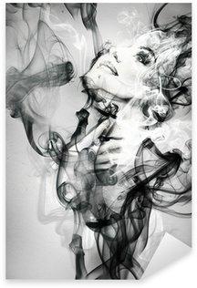 Naklejka Pixerstick Abstrakcyjny portret kobiety. Akwarele ilustracji