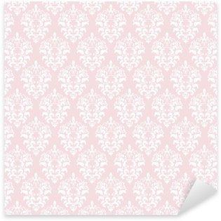 Naklejka Pixerstick Adamaszek bezszwowe tło wzór w pastelowym różu.