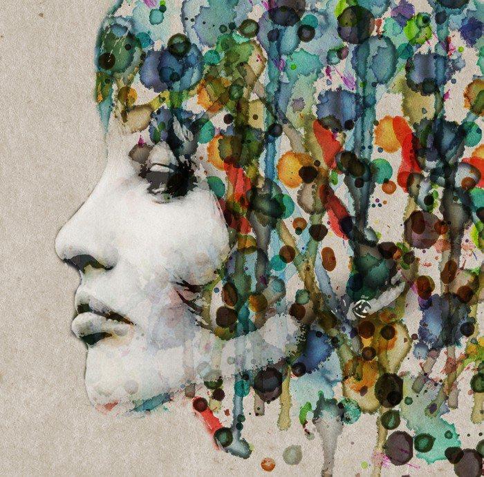 Naklejka Akwarela kobiet profil - Style