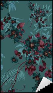 Naklejka Akwarela liści i kwiatów, bez szwu
