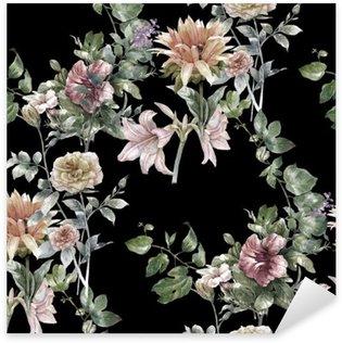 Naklejka Pixerstick Akwarela liści i kwiatów, szwu na ciemnym tle,