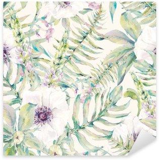 Naklejka Pixerstick Akwarela liści szwu z paproci i kwiatów