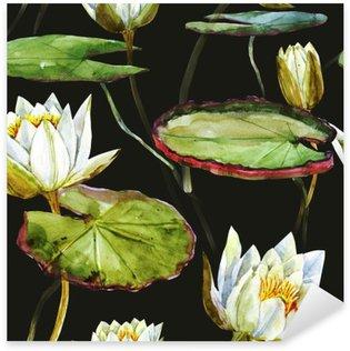 Naklejka Pixerstick Akwarela lotosu wzór