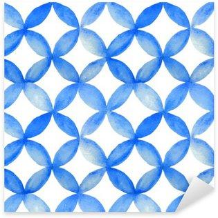 Naklejka Pixerstick Akwarela niebieski wzór japoński.