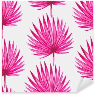 Naklejka Pixerstick Akwarela różowy tropikalnych liści palmowych szwu wzorca. ilustracji wektorowych.