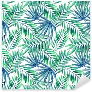 Naklejka Pixerstick Akwarela tropikalnych liści bezszwowe wzór