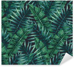 Naklejka Pixerstick Akwarela tropikalnych liści palmowych szwu wzorca. ilustracji wektorowych.