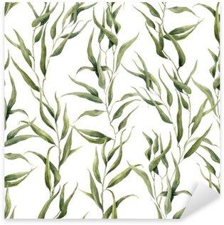 Naklejka Pixerstick Akwarela zielony kwiatowy szwu z liści eukaliptusa. Ręcznie malowany wzór z gałęzi i liści eukaliptusa izolowana na białym tle. Do projektowania lub tła