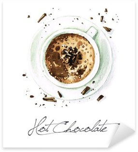 Naklejka Pixerstick Akwarela żywności Malarstwo - Hot Chocolate