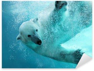 Naklejka Pixerstick Atak niedźwiedzia polarnego pod wodą
