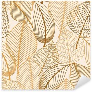 Naklejka Atumnal szwu z brązowymi liśćmi