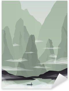Naklejka Pixerstick Azji Południowo-Wschodniej ilustracja krajobraz wektor z skały, klify i morze. Chiny i Wietnam promocja turystyki.