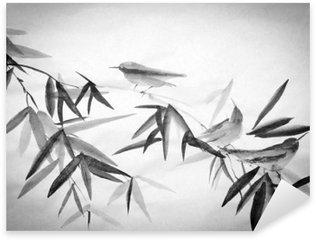 Naklejka Pixerstick Bambus i trzy birdie oddział
