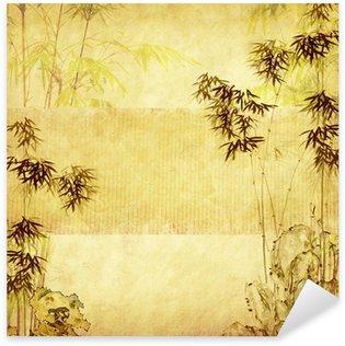 Naklejka Pixerstick Bambus na starych grunge tekstury papieru tle