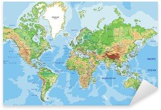Naklejka Pixerstick Bardzo szczegółowe mapa fizyczna świata z etykietowania.