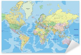 Naklejka Pixerstick Bardzo szczegółowe polityczna mapa świata z etykietą.