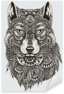 Naklejka Pixerstick Bardzo szczegółowe streszczenie ilustracji wilka