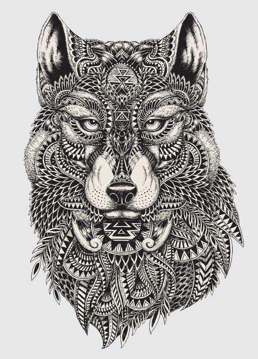 Naklejka Pixerstick Bardzo szczegółowe streszczenie ilustracji wilka - Style